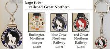 Great Northern Railroad fobs, various designs & keychain options