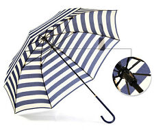 Woman's Navies Stripe Straight Pole ULTRA LIGHT Anti-UV Windproof Umbrella Hot
