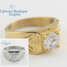 men stainless steel Gold silver old school one CZ stone round band ring size8-13