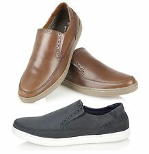 RT Mens Real Leather Light Weight Comfort Slip On Designer Casual Shoes Size