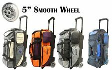 KAZE SPORTS Deluxe 3 Ball Roller Tote Bowling Bag with Smooth PU Wheels