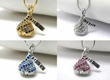 NEW HERSHEY KISS NECKLACE CHOCOLATE KISSES CRYSTAL WHITE GOLD PENDANT PINK BLUE