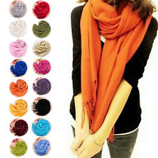 2014 Women Men Warm Cashmere Pashmina Solid Tassels Shawl Stole Neck Wrap Scarf