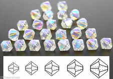 Czech MC Glass Bicone Beads (Rondell/Diamond) Crystal AB2X, fully AB coated
