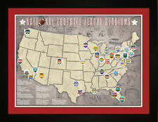 Tracking Art- NFL National Football League Team Arena Stadium Location Map TFOOT
