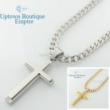 "24"" men stainless steel engraved Silver Plain cross pendant cuban Necklace Chain"