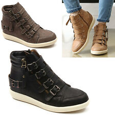 Wedge Hidden Heel Trainers Sneakers Ankle Boots High Top Buckle Zip