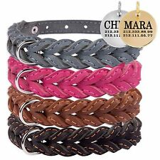 Braided Leather Dog Collar Personalized ID Tag Puppy Small Medium Black Brown