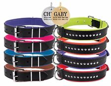 Leather Dog Collar PERSONALIZED ID TAG Studded Small Medium Large