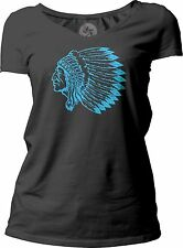 Big Texas Indian Chief (Blue) Women's Short-Sleeve V-Neck T-Shirt