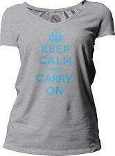 Big Texas Keep Calm and Carry On (Cyan) Women's Short-Sleeve V-Neck T-Shirt