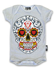 SIX BUNNIES SUGAR SKULL BABY GROW VEST ONE PIECE ROMPER TATTOO BIKER PUNK ROCK