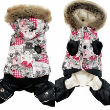 1Pc New Gray Bear Print Pet Dogs Winter Coat Dogs Clothes Christmas Gift For Dog