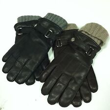 COACH Men's 2 in 1 Leather & Cashmere Gloves Black Brown Winter Warm S M L
