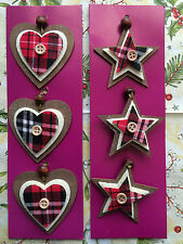 STARS AND HEARTS CHRISTMAS HANGING DECORATION TREE DOOR WALL SHABBY CHIC/RUSTIC