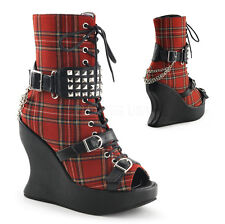 Demonia Bravo-89 Tartan Wedge Boots - Gothic,Goth,Punk,Red,Tartan,Boots,Wedges,B