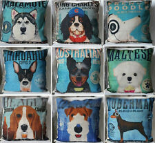 "Famous Dog Linen Sofa Pillow Case Baby Kids Room Cushion Cover 9 styles 18""x18"""