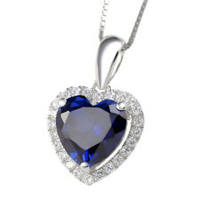 4 CT Heart Blue Sapphire White Topaz 925 Sterling Silver Pendant Chain Necklace