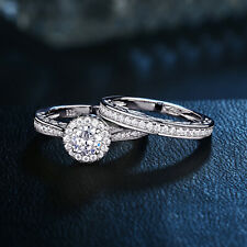 Round CZ 925 Sterling Silver White Gold Plated Wedding Engagement Ring Set 5-12