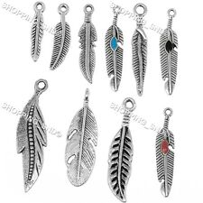 Tibetan Lot Silver Feather Mix Pendants Charms For Bracelet Necklace Bails Bead