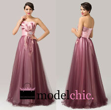 Pink Strapless Tulle Peacock Prom Bridesmaid Wedding Maxi Dress Size AU6-20
