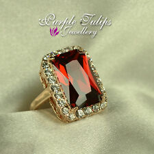 18K Rose Gold Plated Gorgeous Luxury Large Ruby Ring W/ Gen SWAROVSKI Crystal