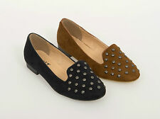 WOMENS LADIES FAUX SUEDE FLAT STUD BALLERINA PUMPS SHOES LOAFERS SIZE 3 - 8