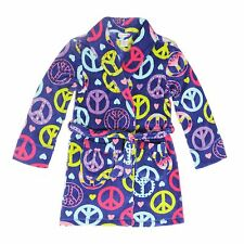 "Tweenklz Girls'  ""Peace Love"" print Plush Coral Fleece Robe"