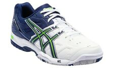 BRAND NEW CURRENT ASICS MENS GEL GAME 4 TENNIS SHOES (WHITE/NAVY/GREEN) RRP:$125