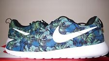 "Nike Roshe Run Rosherun Print ""Space Blue"" Floral Black Green Sz 8-13655206-413"