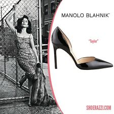 New Manolo Blahnik Tayler 105 Black Patent Heels Pumps Dorsay Shoes 40 40.5 41