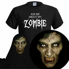 Ask Me About My Zombie  Mens Funny T Shirt Shaun of The Dead Xmas Christmas