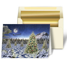 Christmas Cards Trees Snow Lenticular Holiday Greeting Card Item #GC-985#