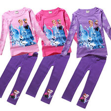 Kids Grils Clothing Frozen Anne Elsa Outfits Sets Tops Pants Casual Suits 2-8 Y