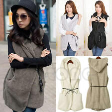 Faux Lamb Fur Hoodie Long Vest Sleeveless Jacket Waistcoat Women Outerwear Coat