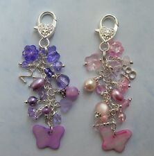 Butterfly Birthday Bag Charm 16th 18th 21st 30th 40th present gift LILAC PINK