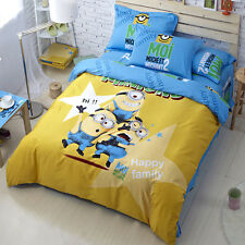 New 2014 Despicable Me Gru Bedding Set 4pcs Queen King Size RARE Blue Yellow