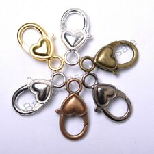 10Pcs Gold Silver Plated Bronze Copper & Shiny Charms Heart Lobster Clasps 22MM