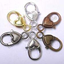10Pcs Gold Silver Plated Bronze Copper & Twill Charms Heart Lobster Clasps 22MM