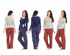 Ladies Pyjama Set Blue PJ'S Womens Long Sleeve Red Grey Cotton