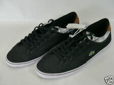 LACOSTE BLACK ANGHA CANVAS UK 12 US 13  MEN'S TRAINERS BNIB HIGH QUALITY