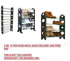 NEW BLACK 4 OR 10 TIER SHOE RACK ORGANISER FOR 12/30 PAIR SHOES STORAGE SHELF