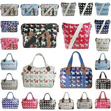 Ladies Oilcloth Scottie Dog Floral Cross Body School Bag Shoulder Messenger Tote
