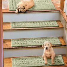 BASKETWEAVE WASHABLE INDOOR CARPET STAIR TREADS CHOOSE FROM 7 COLORS - SET OF 4