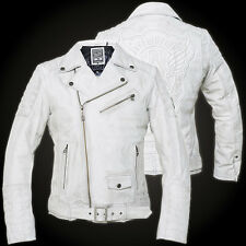 Affliction Bike Cutter Leather Jacket Limited Edition White