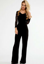 Black Romper Jumpsuit Stretch Bodycon Maxi Evening Date Party USA FREE SHIP