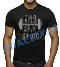 Men's Meet Me At The Bar Funny T Shirt Beast MMA Workout Muscle Gym Humor Tee