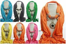Women Crystal Charm Jewerly Pendant Scarf Solid Cotton Wrap Head Shawl Scarves