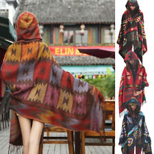 Women Cape Poncho Shawl Scarf Tribal Fringe Hoodie Hooded Bohemian Coat Jacket