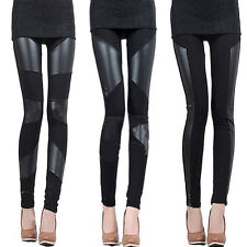 Fashion Sexy Women Stitching Faux Leather Black Stretchy Leggings Pants